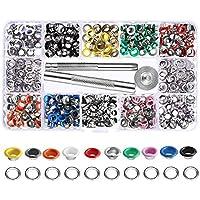 Gasea 300Pcs Kit de Ojales de Multicolor Ojetes de Metal de 6 mm, Herramienta de Instalación de Vapor Hebilla de Ojal Pintada Botón de Ojo