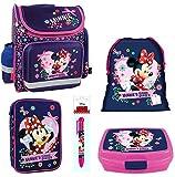 Disney Minnie Mouse Schulranzen Mädchen 1 Klasse Tornister Schulrucksack Schultasche SET 5 teilig für Grundschule super leicht unter ein Kilo ! ZTE5MRMM