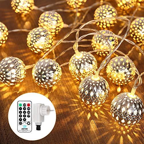 Geemoo LED Lichterkette mit Marokkanischen Kugeln, Lichterkette innen mit Netzstecker - 9 Meter, 30 LEDs Warm Weiß, Kugeln Orientalisch, Deko Silber, Hochzeit, Geburtstag oder anderen Partys