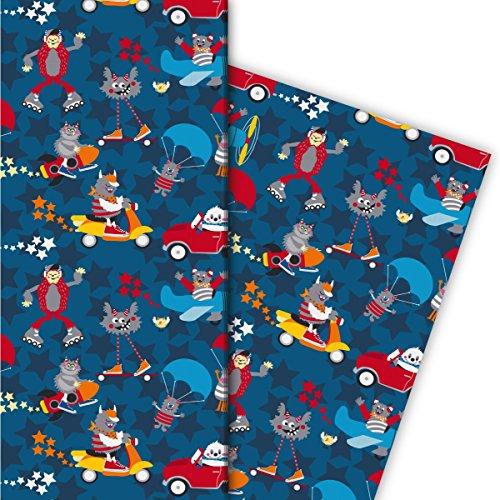 Cooles Monster Geschenkpapier Set (4 Bogen), Dekorpapier, Papier zum Einpacken nicht nur zu Halloween mit Auto Flugzeug Raketen für tolle Geschenk Verpackung und Überraschungen 32 x 48cm