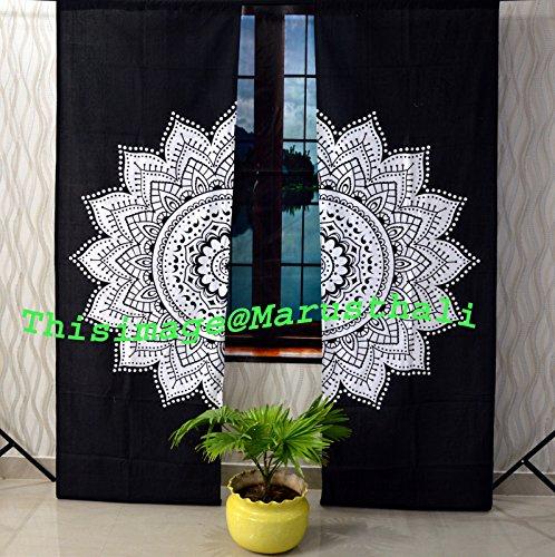 Cortina de mandala india negra y blanca con diseño de flores y hippie, cortinas de mandala hechas a mano, incluye 2 cortinas de mandala, tapiz doble, cortinas y valores, cortina de tratamiento para ventanas vintage