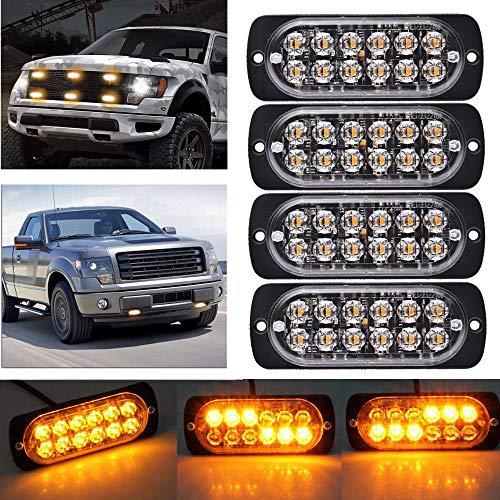 Ricoy Amber 12-LED 12-24V Camión Advertencia Precaución Construcción de emergencia Baliza impermeable...