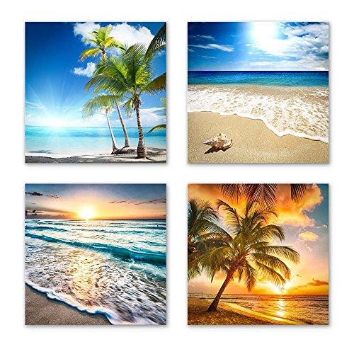 Urlaub Set A schwebend, 4-teiliges Bilder-Set jedes Teil 29x29cm, Seidenmatte Optik auf Forex,...