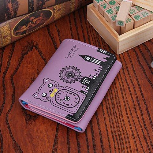 Amazingdeal365 Donne Pu Pelle Corta Carino Gatto Portafoglio Carta Di Credito Titolare Borsa Frizione (Rosa) Viola