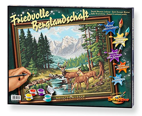 Noris Spiele Schipper 9130 344 - Juego de Pintura por números (40 x 50 cm), diseño de Paisaje de montaña