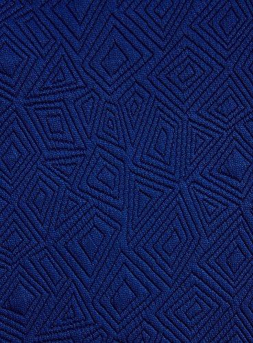 oodji Collection Femme Sweat-Shirt en Tissu Texturé à Manche Courte Bleu (7500N)