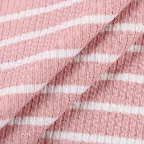 Donna Piani Delle Manica Rosa Donne Grembiule Camicetta Camicia Corta Estate Spalla ❤️manadlian Righe A Fuori 2018 dP1n8x