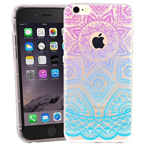 Danura Iphone Crystal Case Hülle mit Indischer Sonne Henna Look Iphone 6 Manjusaka Case Iphone Tribal Hülle für iphone 6/ 6s TPU Crystal Cover mit Muster (gelb/grün) lila/blau