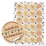 48 Weihnachtsaufkleber Aufkleber rot beige natur FROHE WEIHNACHTEN Ø 4 cm Sticker Geschenkaufkleber give-away Kunden-Geschenke Etiketten Geschenkverpackung weihnachtlich Papiertüten zukleben