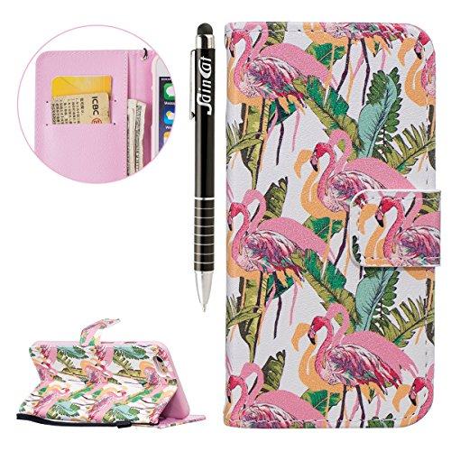 iPhone 6 Plus Hülle,iPhone 6S Plus Hülle,SainCat PU Leder Hülle Brieftasche im BookStyle Wallet Case Lederhülle Folio Schutzhülle Karikatur Muster Ledertasche Hülle Bumper Handytasche Skin Schale Soft Flamingos