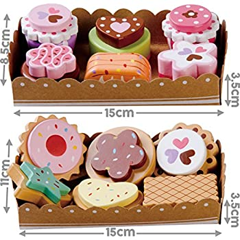 bee smart u2014 wooden toy tea party wooden cakes and wooden biscuits set pretend play