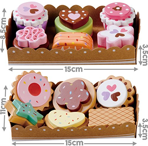 Bee Smart - Wooden Toy - Tea Party Wooden Cakes and Wooden Biscuits Set Pretend Play Food with Selection Cards and Sturdy Cardboard Serving Trays