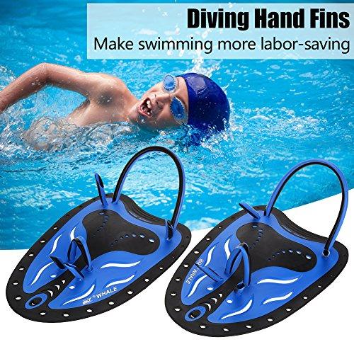 GOTOTOP 2 Farbe Schwimmen Tauchen Hand Flossen Paddles Webbed Ausbildung Fin Tauchen Ausrüstung ideal zum Schwimmen, Tauchen, Schnorcheln und so weiter (S, Blau)