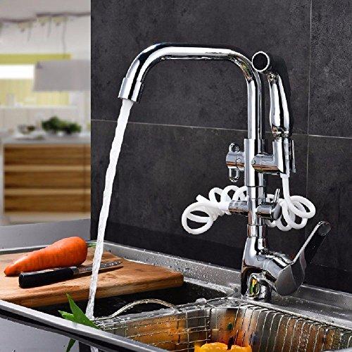 ANNTYE Robinets de lavabo l'eau Chaude et Froide en Laiton avec Lance à Main Extensible à l'arrachement Robinet lavabo avec Robinet Salle de Bain Cuisine