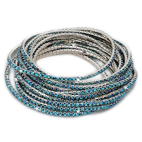 fino a 12 bracciali tennis con cristalli azzurri - bracciale donna - braccialetto - varie composizioni set - regalo, tutte le occasioni, anniversario - lunghezza adattabile a tutti i polsi (12)