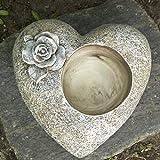 Grabherz mit Rosenblüte verziert für Blumen oder Grablicht. Durchmesser 15cm