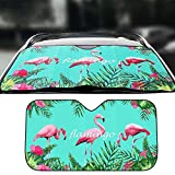 FANCYLEO Auto Flamingos Windshield Sun Shade - Universal Fold-up UV Sun and Heat Reflector for Car SUV Truck(Blue)