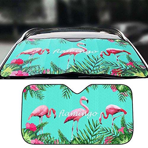 FANCYLEO Auto Flamingos Windshield Sun Shade - Universal Fold-up UV Sun and Heat Reflector for Car SUV Truck(Blue)