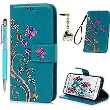Funda para Samsung Galaxy S7, Funda Libro de Cuero Impresión de Mariposa y Flor, Flip Cover con TPU Case Interna, Wallet Case con Soporte Plegable, Ranuras para Tarjetas y Billete (Funda Azul + Lápiz capacitivo + Enchufe anti del polvo)