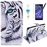 HB-Int 4 in 1 Accessories PU Leather Flip Case for Sony Xperia Z2 Wild Tiger Stand Function Cover with Card Slots Book Style Wallet Magnetic Clousure Shell Folio Bumper Folding Pouch Protector Pocket Full Body Holder Black Soft Silicone Back Case with Screen Protector + Dust Plug + Stylus Pen
