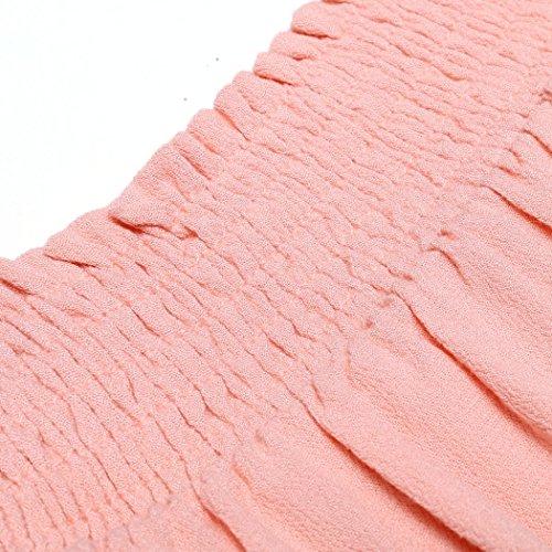 ZEARO Sexy Damen Minikleid Strandkleid Partykleid Schulterfrei Abendkleid mit Gürtel Pink