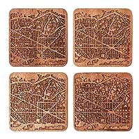 كوستر خريطة برشلونة بواسطة O3 Design Studio، مجموعة من 4 قطع، قاعدة خشبية سابيل مع خريطة المدينة، صناعة يدوية