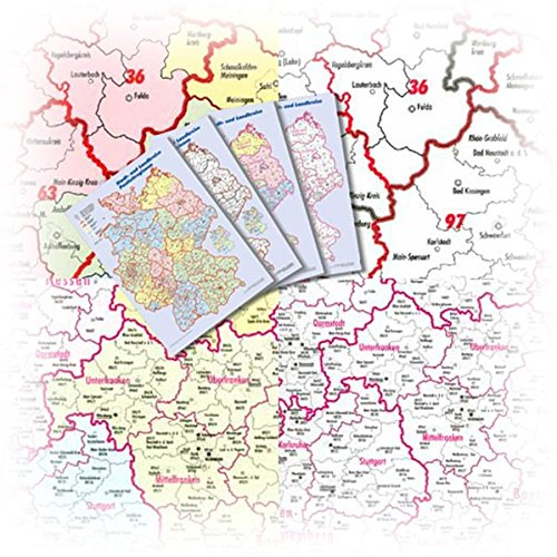 BACHER Marketingkarten im Set DIN A3: 4 Karten im Set, beschichtet, mit Schutzhülle. Kreiskarte, nach Bundesländern eingefärbt mit Kreiskennziffern. ... bis Landkreise und PLZ-Regionen