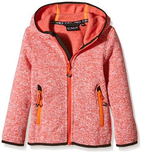 CMP Mädchen Kapuzen Fleecejacke 3H19825, Orange (Bitter-Bianco), 164 (Orange Kapuzen-fleece)