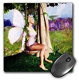 3dRose LLC mp_48986_1 Mauspad, Waldfee mit Kolibri auf Gartenschaukel