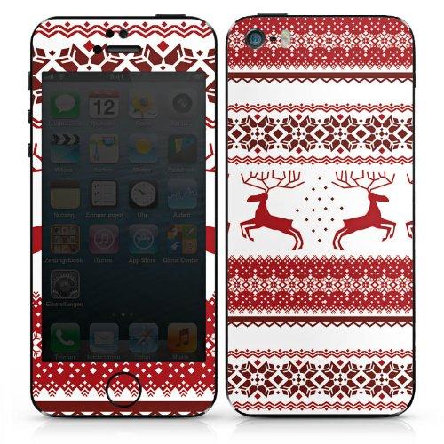 Apple iPhone 5c Case Skin Sticker aus Vinyl-Folie Aufkleber Rentiere Weihnachten Norwegermuster Rot DesignSkins® glänzend