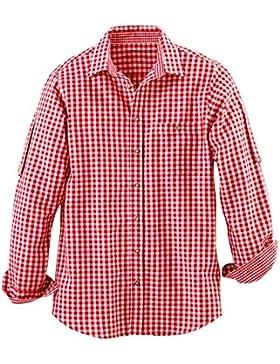 Maddox Slim Fit Trachtenhemd Niels - Rot Weiß - Kariertes Herren Oberhemd zur Lederhose
