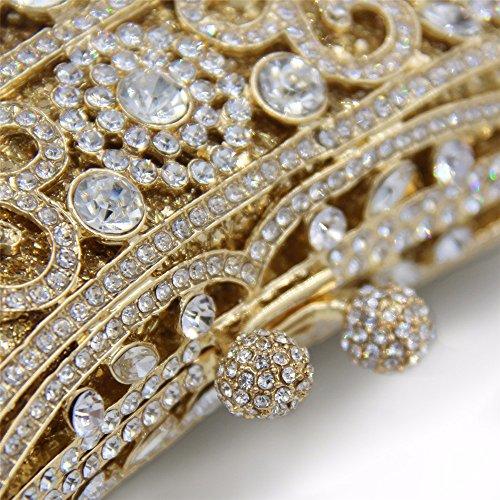 KAFEI Cena femmina Borsa serale incisa diamante banchetto di nozze party party sposa,oro viola dark gold