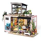 Robotime Kit casa di Bambole in Miniatura Adulti - Camera Carina Regalo per Ragazze di 14 Anni - Portico Modello Casa in Legno (Studio Room)