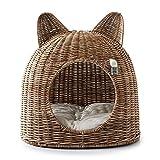 Riviera Maison - Casetta per Gatti in Rattan, Realizzata a Mano