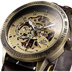 ALPS Mens Vintage Bronze Case Self-Winding Automatic Mechanical Skeleton Brown Leather Band Classic Luxury Watch