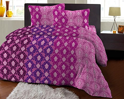 Bombay Dyeing Fair Mist Printed Double Bedsheet - DSN-2 - Poly cotton - 254 cm x 229 cm - Purple  available at amazon for Rs.699