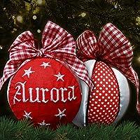 Crociedelizie, pallina di Natale con nome ricamato decorazione natalizia personalizzabile rosso e raso bianco idea regalo
