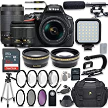 Nikon D5600 24.2 MP DSLR Camera Video Kit With AF-P 18-55mm VR Lens & AF-P 70-300mm ED VR Lens + LED Light + 32GB Memory + Filters + Macros + Deluxe Bag + Professional Accessories