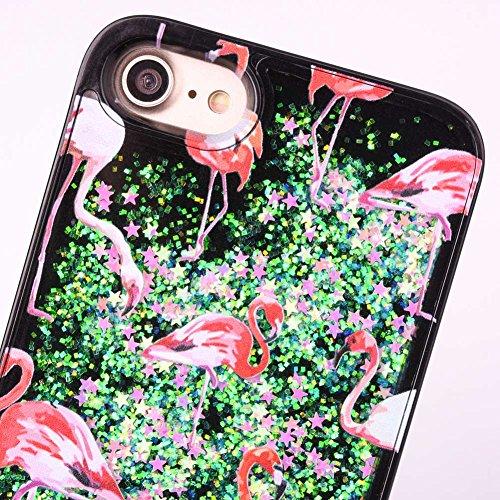 iPhone 6S Ultra Slim Case, iPhone 6Hülle, iPhone 6/6S Bling Diamant Glitzer Liquid Fall, toyym wundervolles Design Bling Glitzer Cover Case etui mit fließender Flüssigkeit Shinny Diamant weich TPU Bu Flamingo