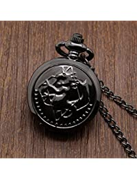 Black : Small New Silver Tone Fullmetal Alchemist Pocket Watch Cosplay Edward Elric With Chain Anime Boys Gifts