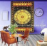 Saini Art Exklusive Queen Size Ombre Mandala indischen Boho Betten Set Hippie Tapisserie Wandbehang, Hippie-Decke oder Beach Überwurf Hippie Tapisserie Wandbehang, Hippie-Decke Art Deco Twin Yellow (S-023)