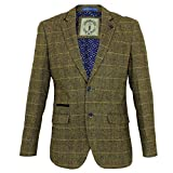 Cavani Neue Mens Tweed Fischgräten Slim Fit Blazer Braun Check UK 42 = 52 EUR
