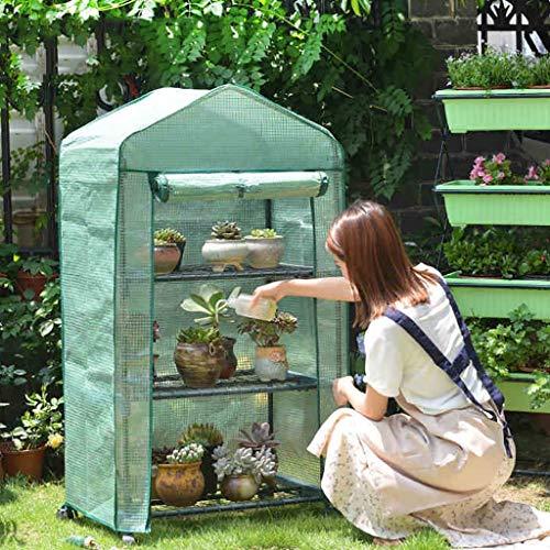 LIZIWS Greenhouse Gewächshaus-Blumenhausfamilie sprießt Pflanzregal 3 Schichten 69cm x 49cm x...