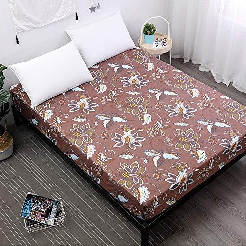 MKLVWU Einfache Polyester Schlafzimmer Einfarbig Floral Gedruckt Spannbetttuch Bett Protector Pad Schöner Stil - Kaffee 160X200cmX25