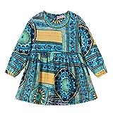 d7083f18695fa Vovotrade Toddler Baby Girls Floral Print Zipper Abiti Vestiti Gonna Manica  Lunga per Bambini Princess Dress