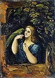 Toperfect 50€-2000€ Handgefertigte Ölgemälde - Frau mit Papagei Paul Cezanne Gemälde auf Leinwand Kunst Werk Ölmalerei - Malerei Maße15