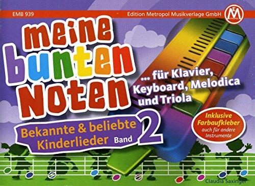Meine bunten Noten für Klavier, Keyboard, Melodica und Triola. Bekannte und beliebte Kinderlieder