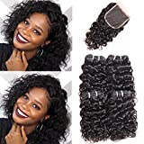 MORICHY Hair Brazilian Water Wave Bundles with Lace Closure Human Hair Wet and Wavy Brazilian Hair with Closure Water Wave Hair 50g/pc Bouncy Curl Remy Hair Extensions Natural (8 8 8 8+8 closure)