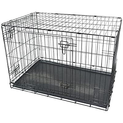 "Black Metal Folding 36"" Pet Crate Dog Crate Cage Transport"