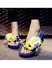 7cm Zapatillas de tacón alto grueso del alto talón del verano femenino de los deslizadores del verano ( Color : #3 , Tamaño : EU36/UK4/CN35 )